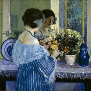 Frederick_Carl_Frieseke_-_Girl_in_Blue_Arranging_Flowers_-_Google_Art_Project