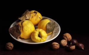 quinces - cecilia gilabert - still life on quinces and nuts