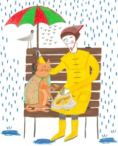 helen hancocks my cat and I sharing fish and chips in the rain
