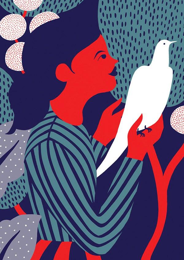 karolin schnoor - girl with bird