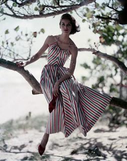 Model Sitting in Tree in Striped Halter Dress